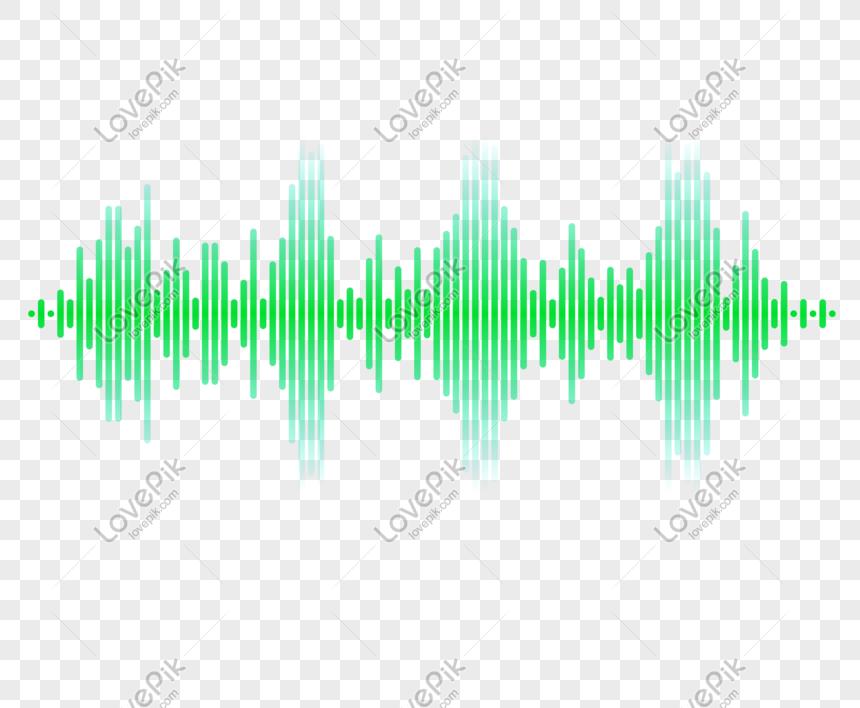 Kurva Gelombang Suara Piksel Piksel Hijau Gambar Png Gambar
