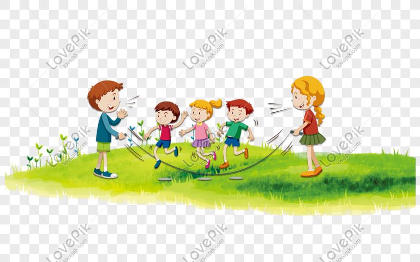 Caricatura Criancas Pular Corda Ligado Capim Imagem