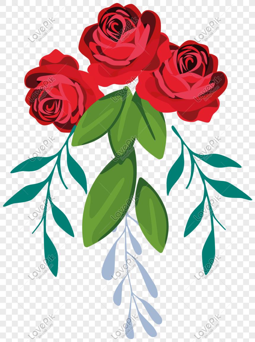 Kartun Kelopak Tanaman Yang Ditarik Tangan Bunga Mawar Dengan Da Png Grafik Gambar Unduh Gratis Lovepik