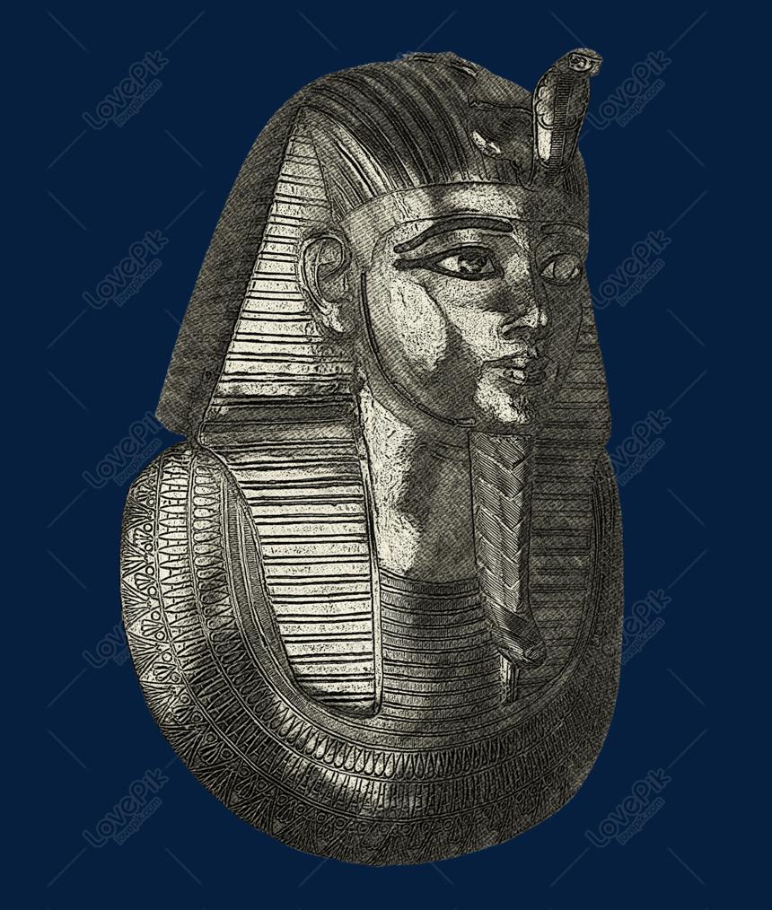 Melukis Lukisan Jalur Topeng Mummy Emas Gambar Unduh