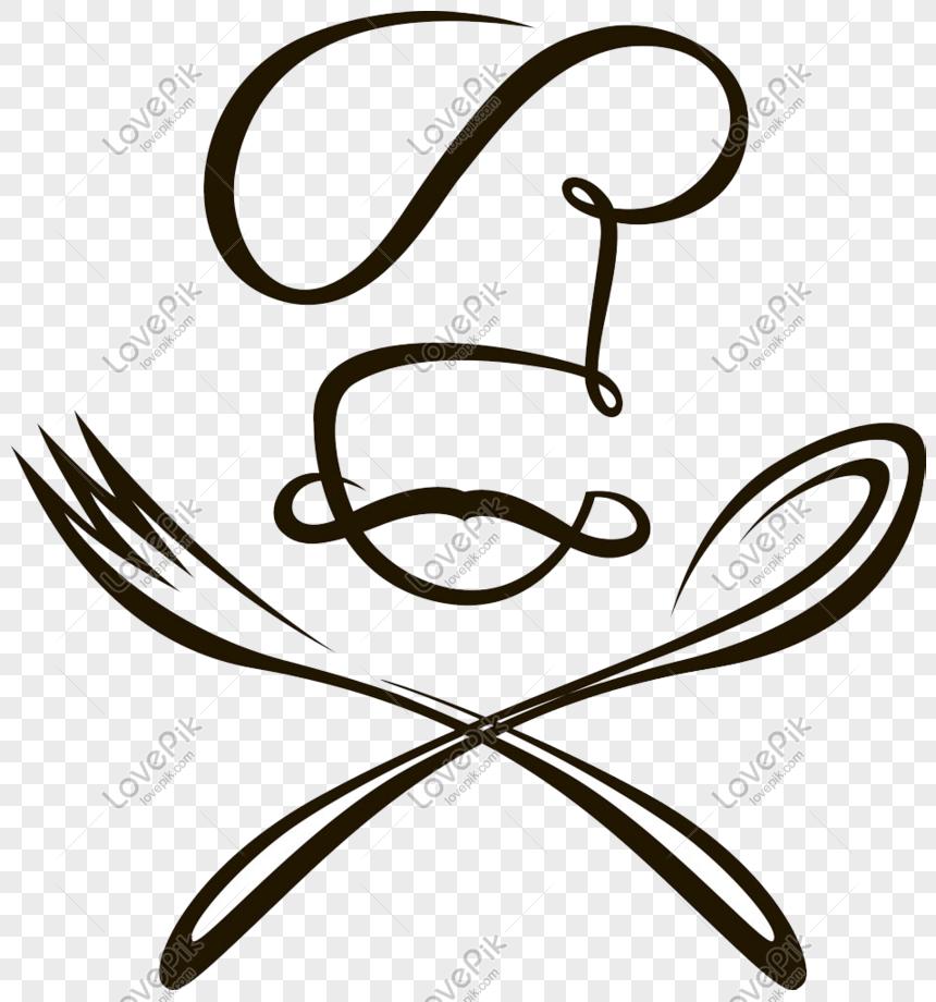 Kartun Chef Dan Garpu Garis Hitam PNG Grafik Gambar Unduh