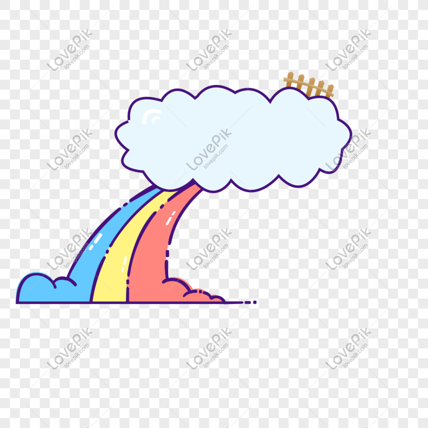 Hand drawn cartoon rainbow cloud png background png