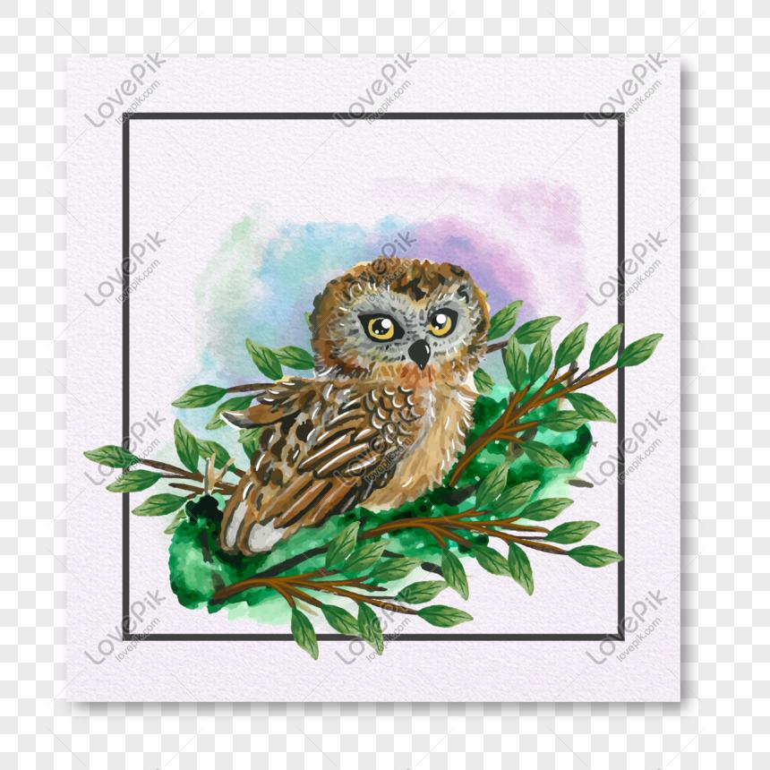 Ilustrasi Vektor Label Dekoratif Burung Hantu Digambar Tangan