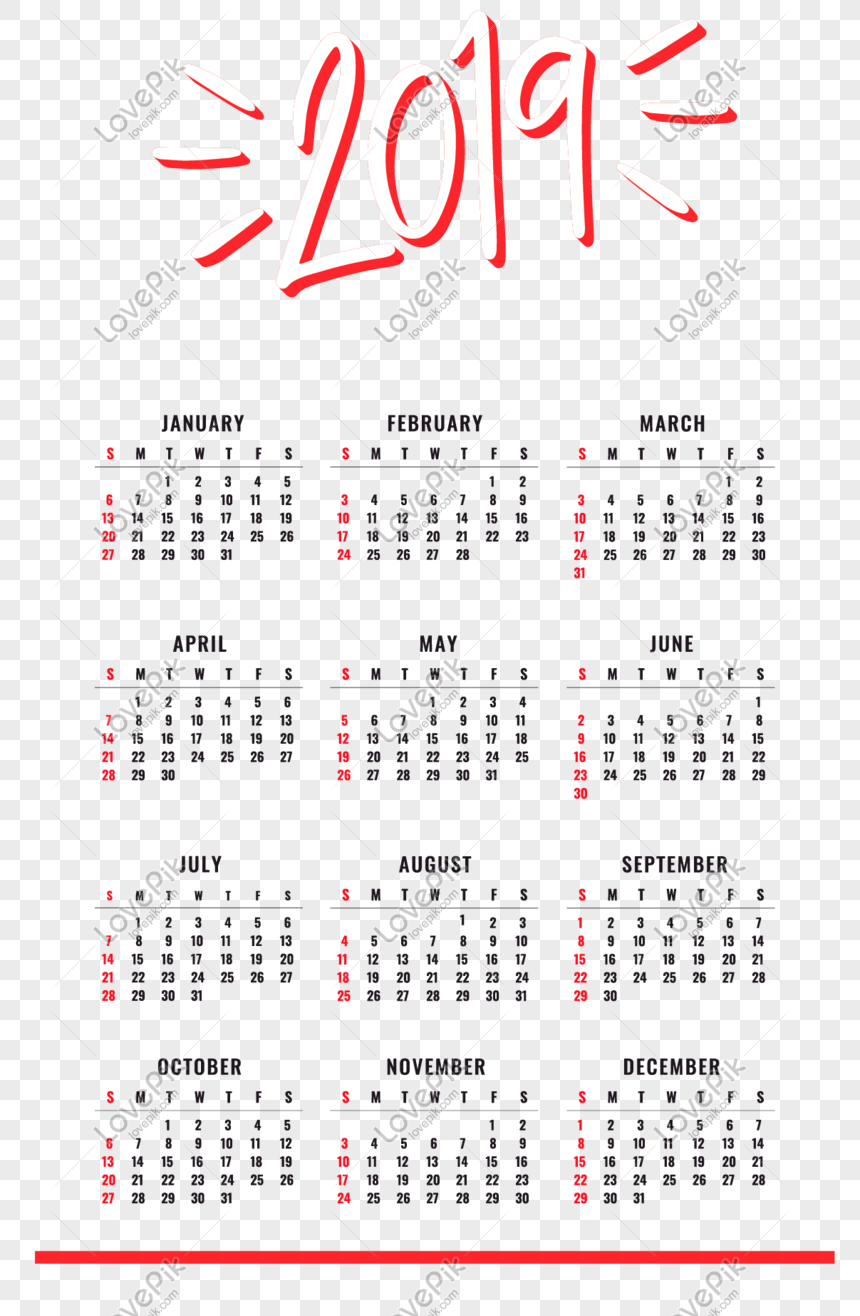 cartoon 2019 calendar template png
