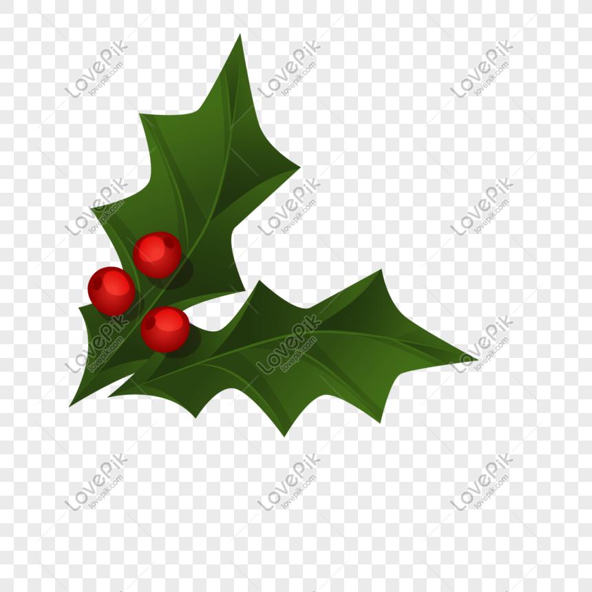 Dua Potong Daun Natal Yang Dilukis Dengan Tangan Gambar