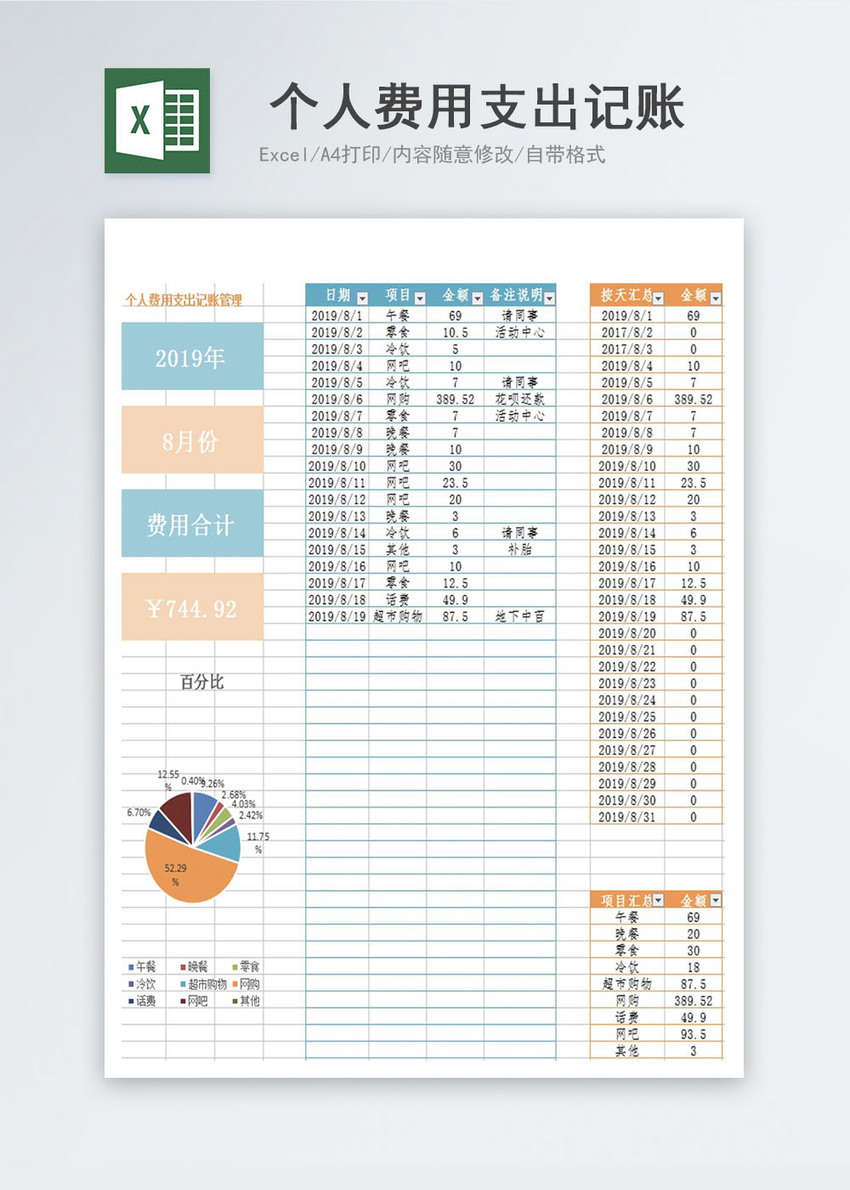 personal expense account book excel template excel templete free
