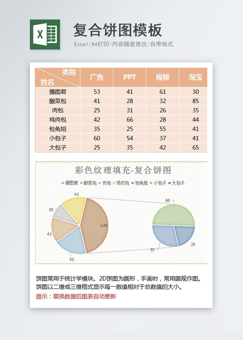 Composite Pie Chart Template Excel Templete Free Download File