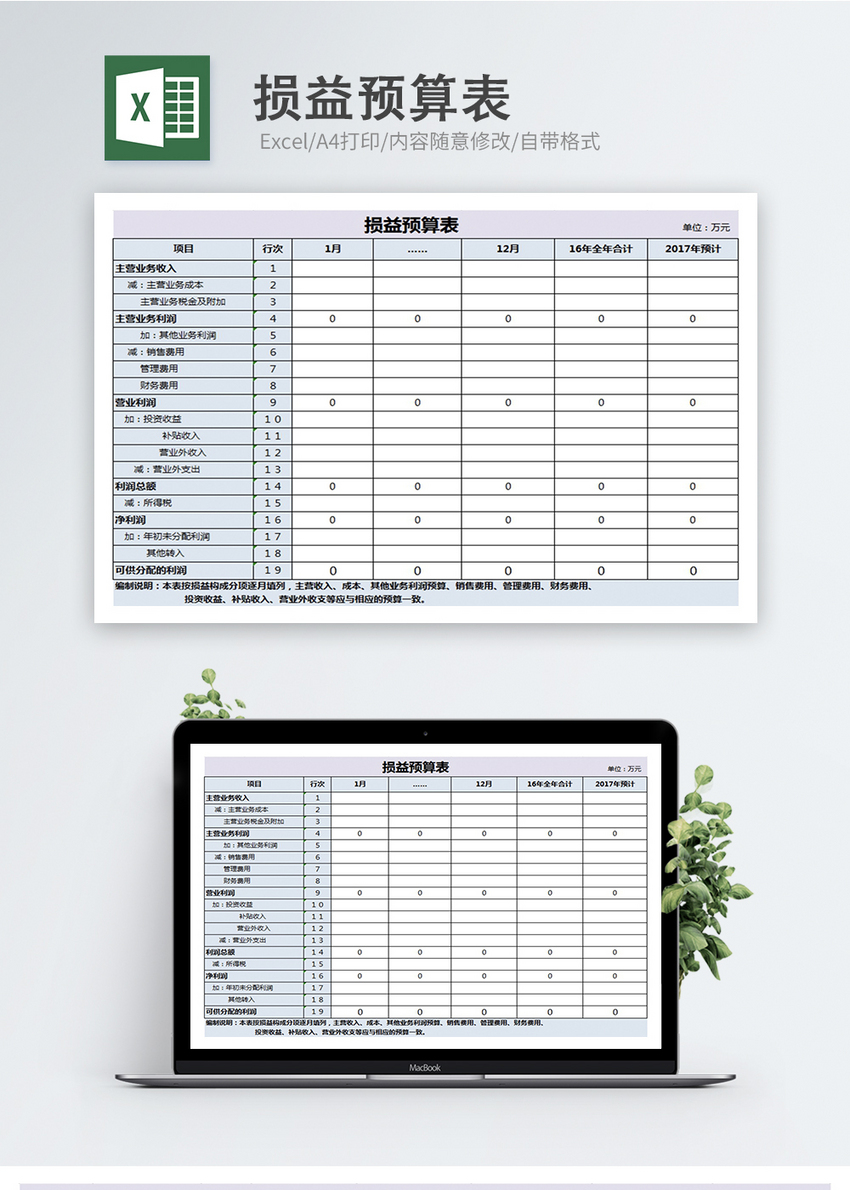 profit and loss budget table excel template excel 400145454 m