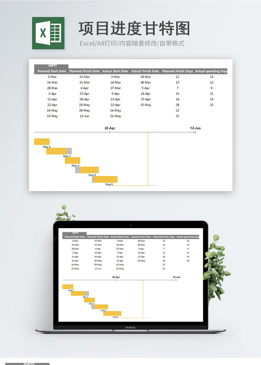 project progress gantt chart excel template excel templete free
