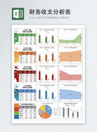 Quarterly financial balance analysis table excel template Mga template