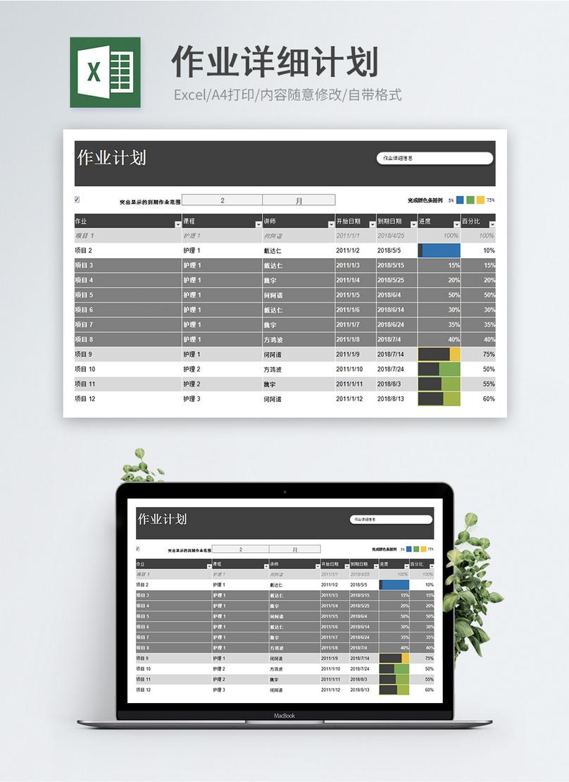 Plantilla Detallada De Excel Del Plan De Trabajo