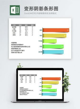 Deformed Shadow Bar Chart Excel Chart Mga template