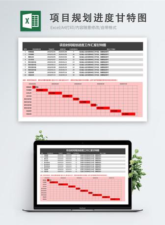 項目時間規劃進度工作彙報甘特圖excel模板 模板