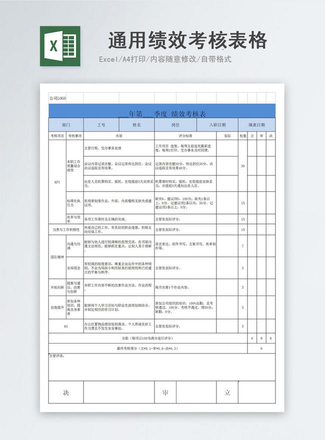 Lovepik صورة Xlsx 400971122 Id عرض تقديمي بحث صور نموذج تقييم الأداء العام قالب Excel