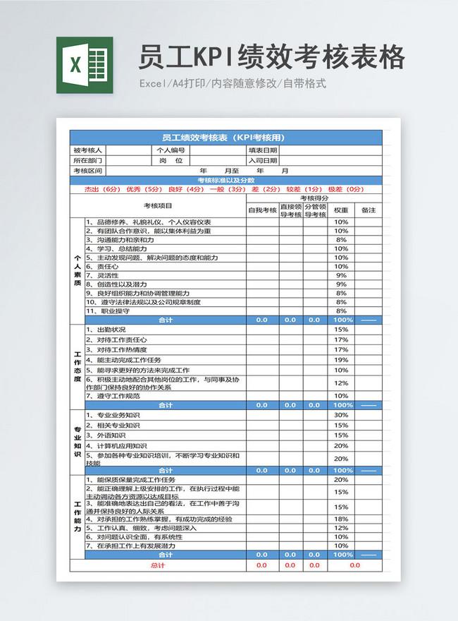 Lovepik صورة Xls 400972662 Id عرض تقديمي بحث صور نموذج تقييم أداء الموظف Kpi قالب Excel