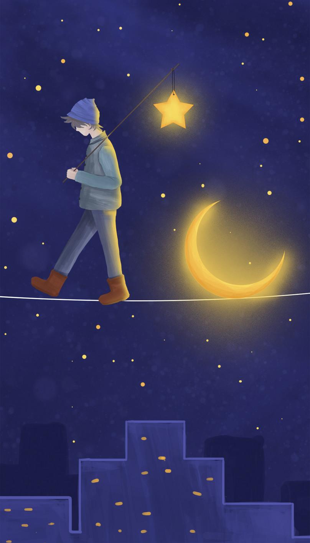 Wallpaper Ponsel Remaja Di Bawah Langit Malam Gambar Unduh Gratis