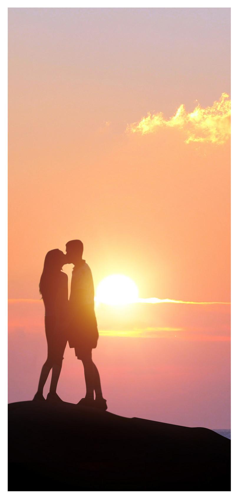 日没のカップルシルエット携帯電話の壁紙イメージ 背景 Id