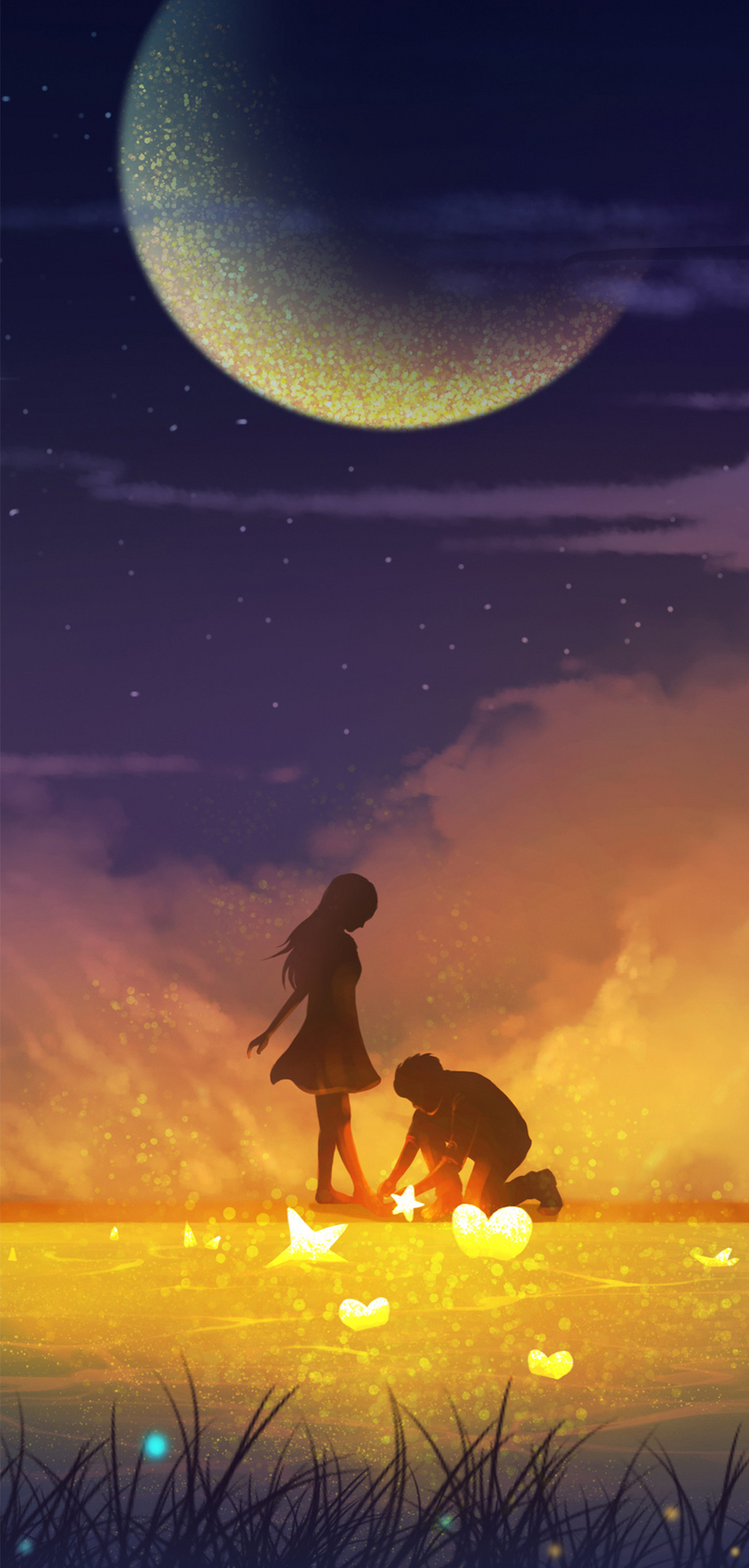 夜空の下でカップルの携帯電話の壁紙イメージ 背景 Id 400315183 Prf