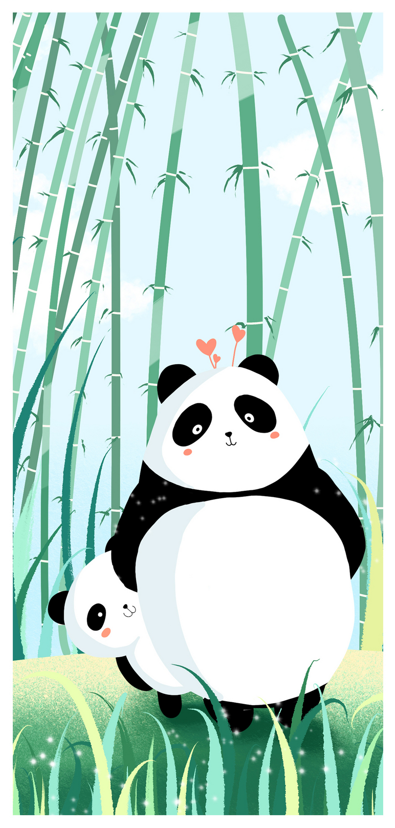 Lovely Panda Father And Son Mobile Phone Wallpaper