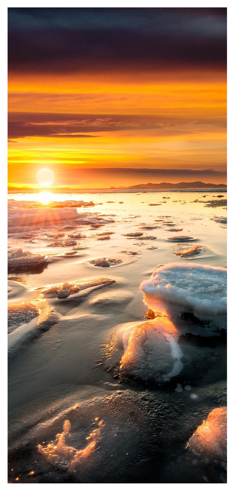 Sea Ice Scenery Mobile Phone Wallpaper In The Setting Sun