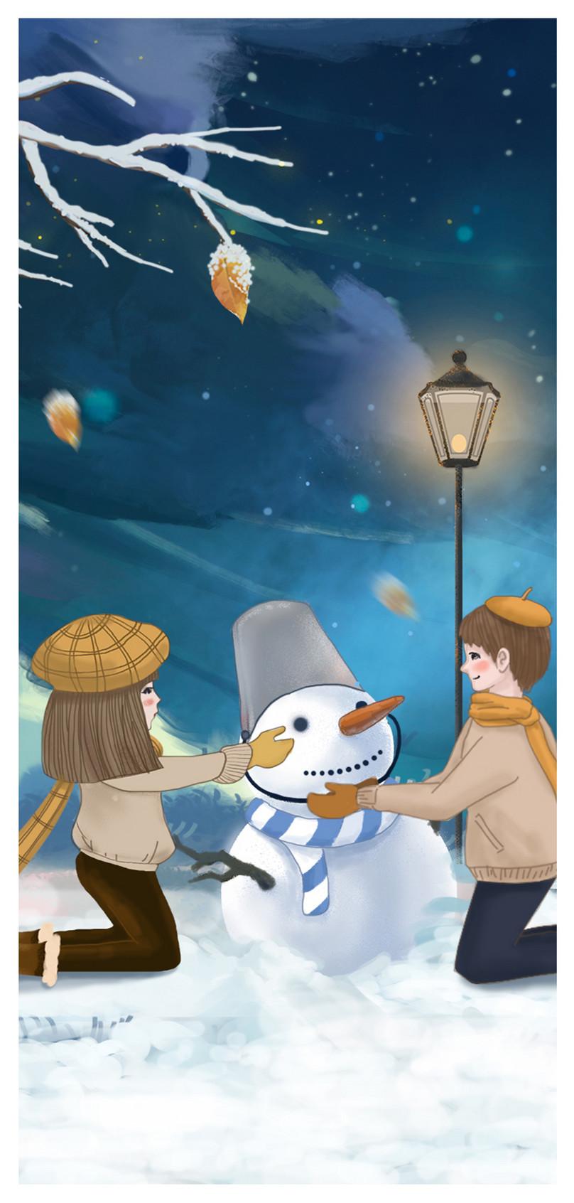 冬の雪だるまの携帯電話の壁紙イメージ 背景 Id 400895954 Prf画像