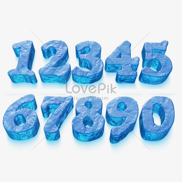 Cubo De Gelo Efeito Numero 3d Dos Desenhos Animados Imagem