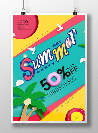 fashion color summer poster ng pagbebenta Mga template