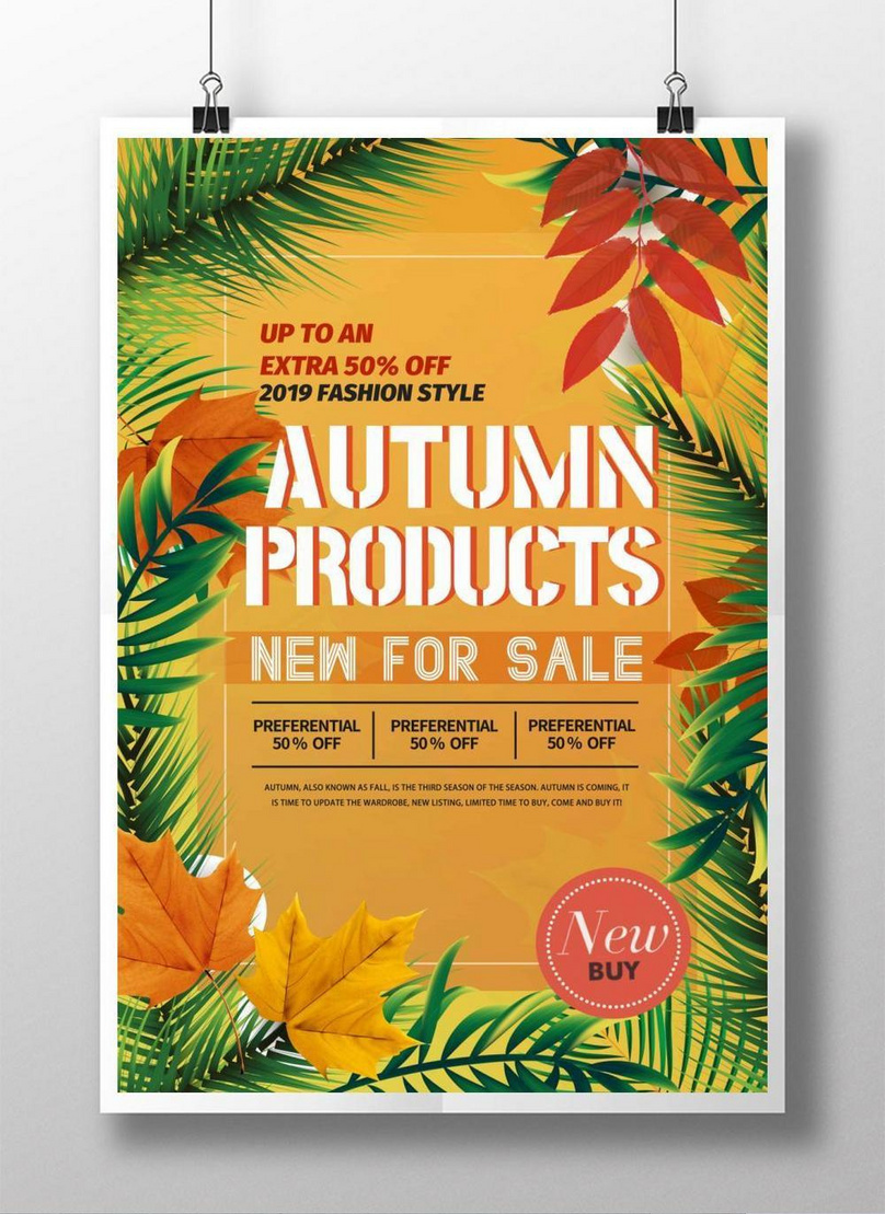 orange autumn new product sale poster