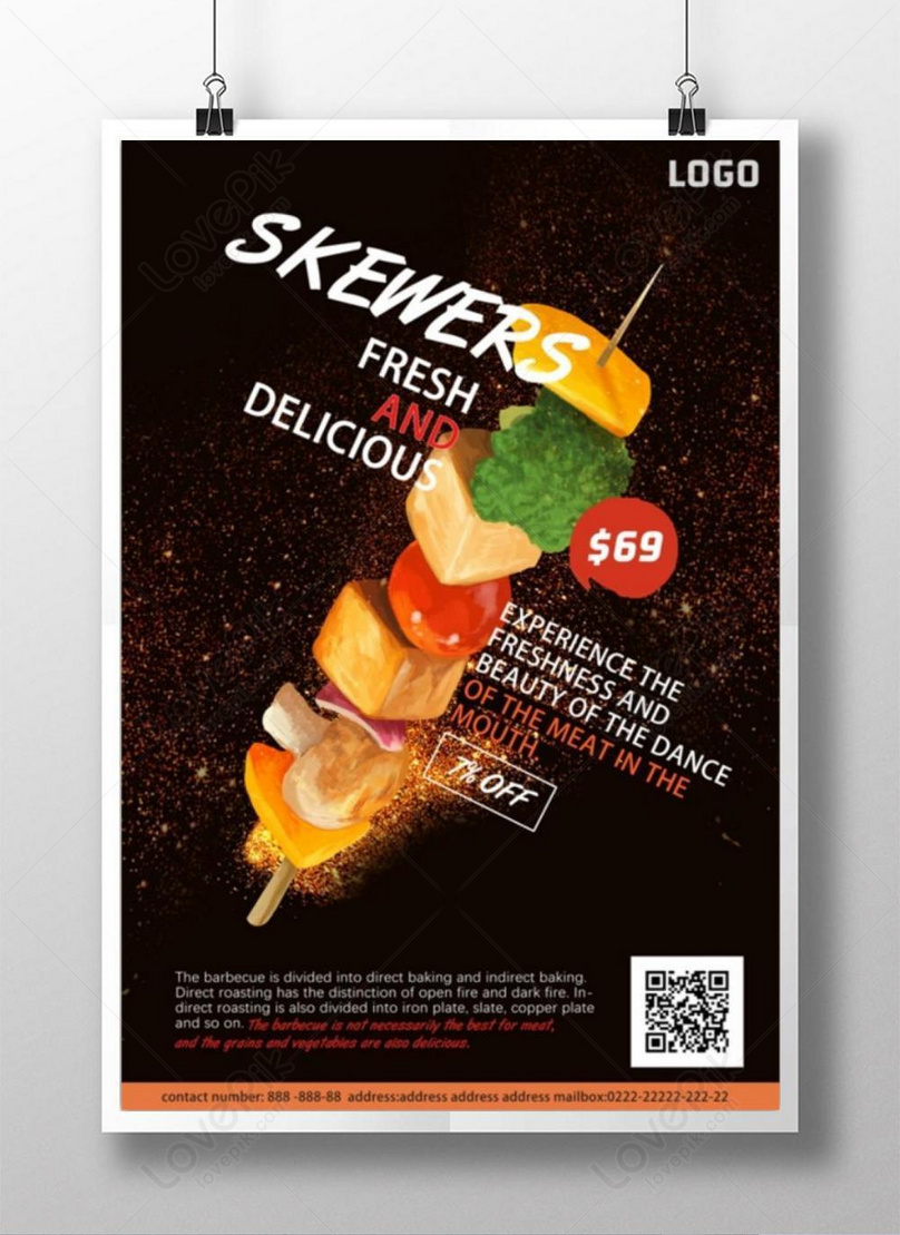 delicious and tender barbecue skewers poster