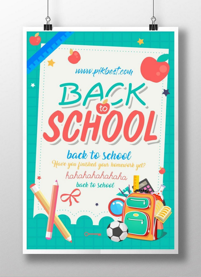 back to school school season color poster creative design