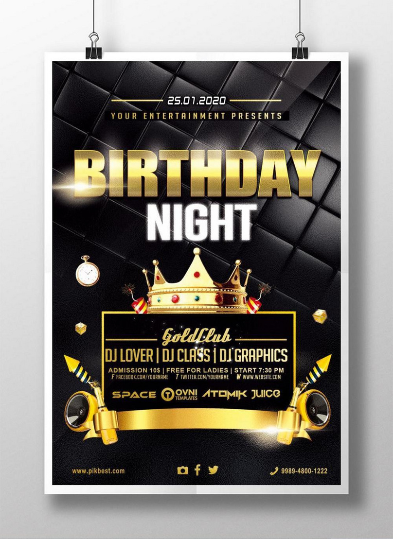 Black gold birthday party invitation poster template image_picture