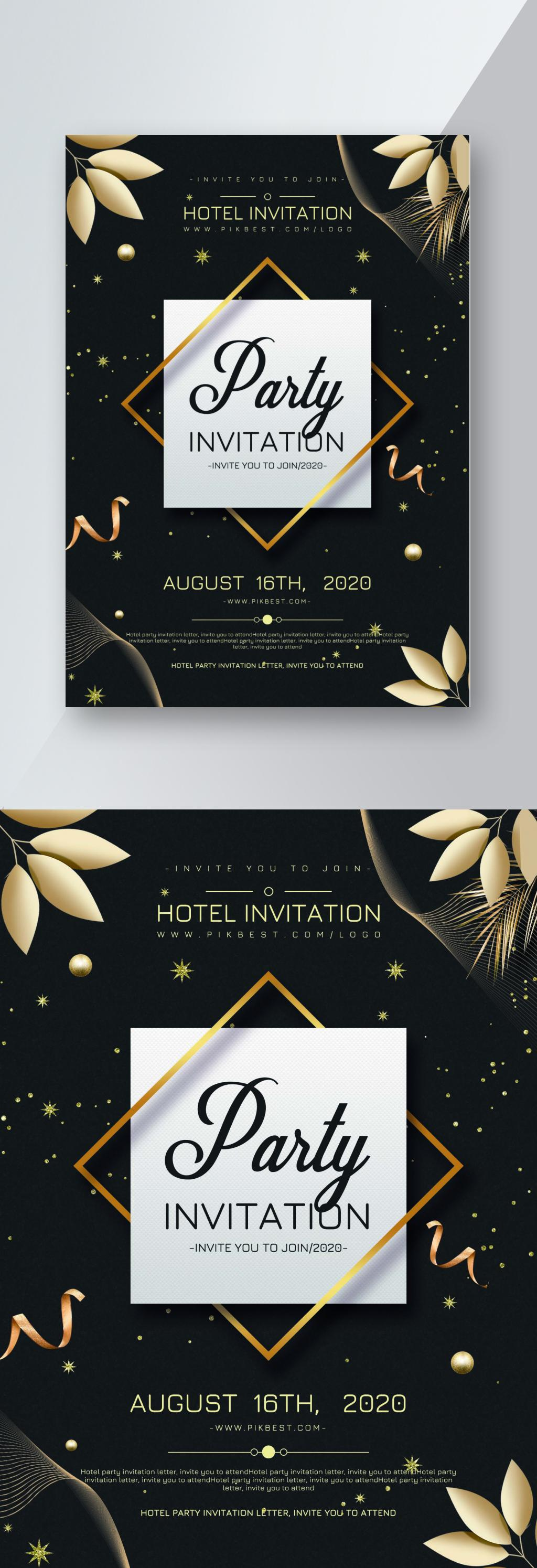 Black Gold Wind Hotel Party Invitation Flyer Design Template Image Picture Free Download 450022954 Lovepik Com