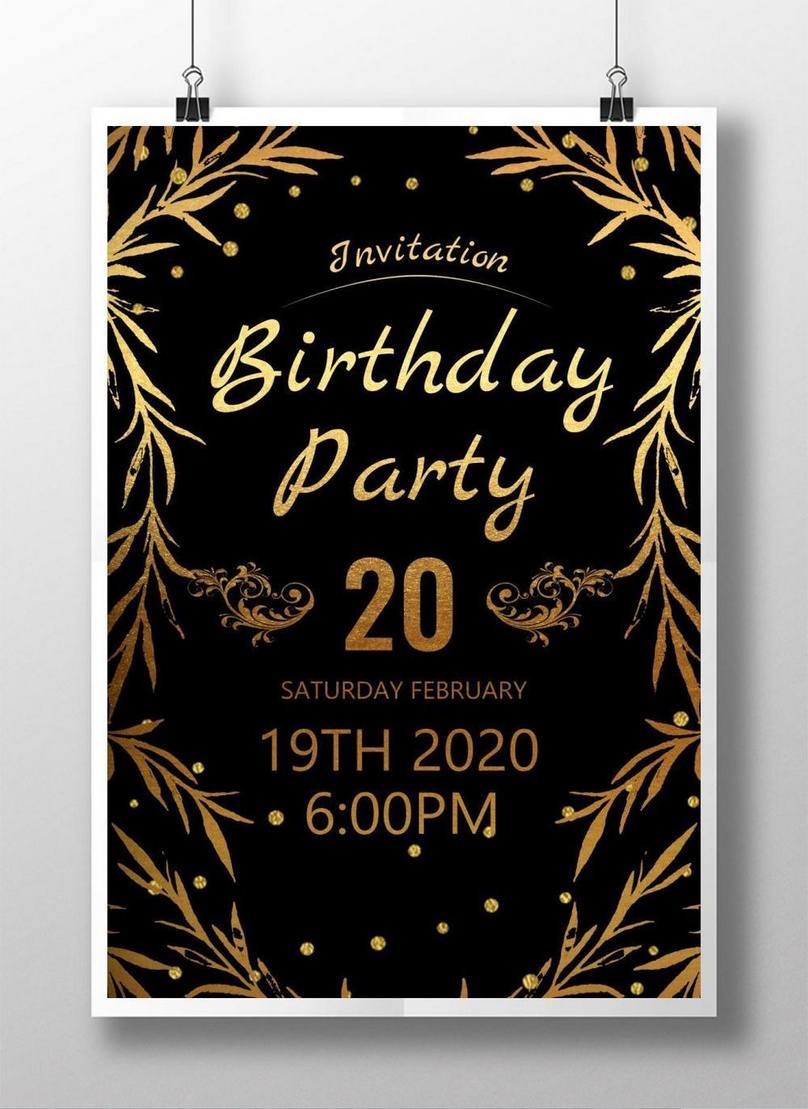 Black gold birthday party invitation template image_picture free download  450020887_lovepik.com