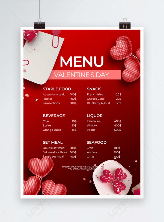 menu creativo di san valentino