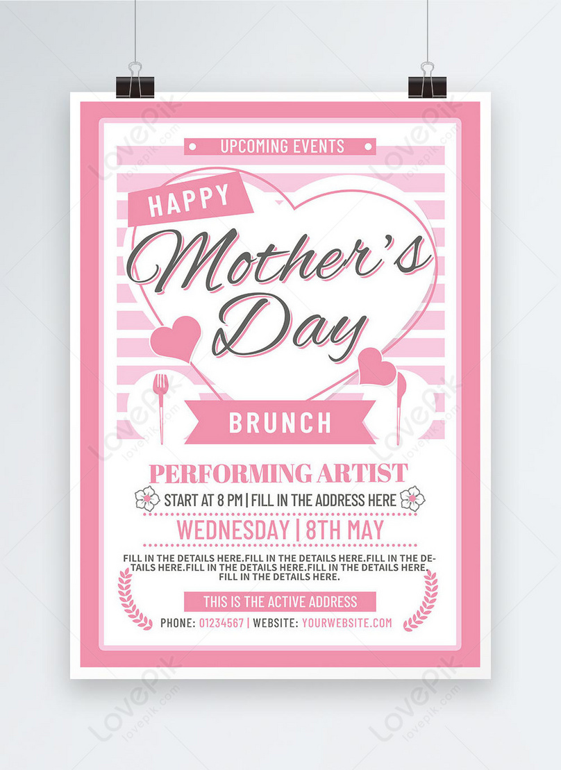 pink striped line love mothers day event poster