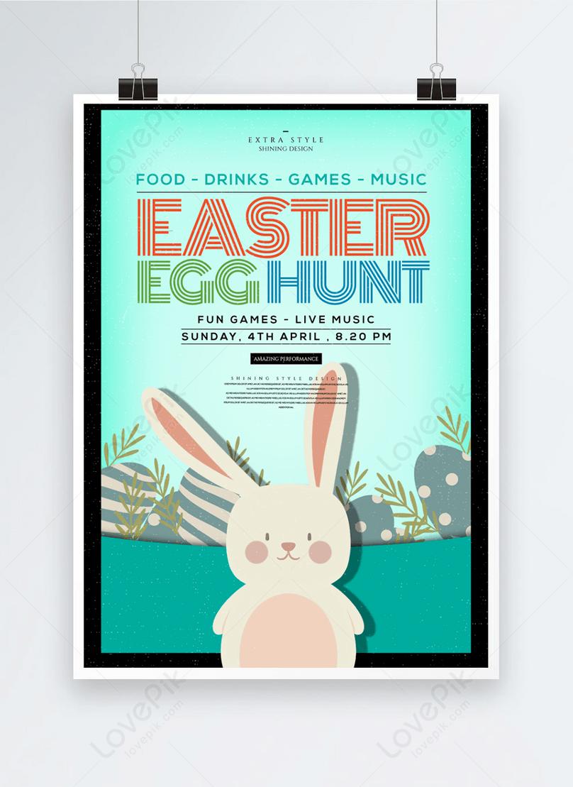 pôster de feriado do coelhinho do ovo da páscoa de desenho animado