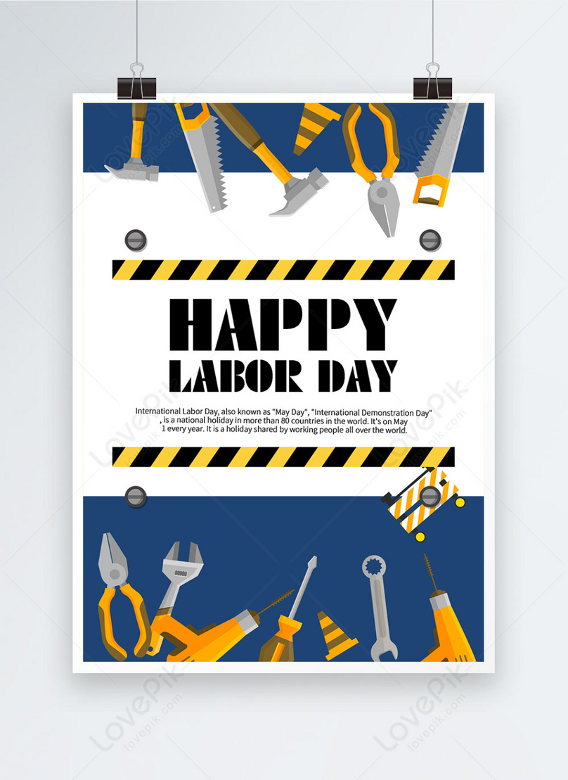 blue labor day tool poster