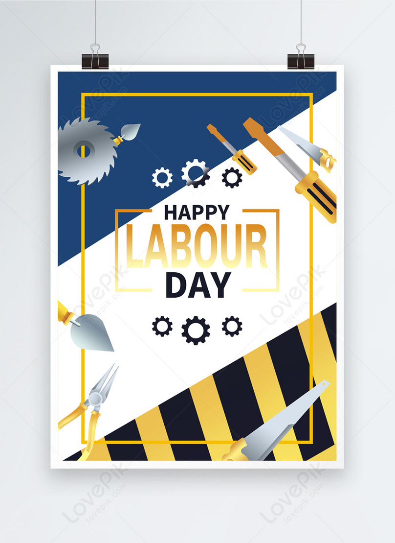 labor day tools holiday poster