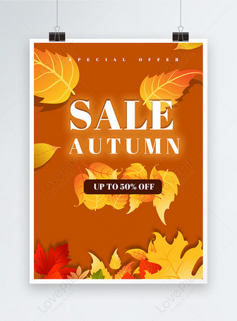 Yellow autumn discount promotion poster autumn promotion Templates