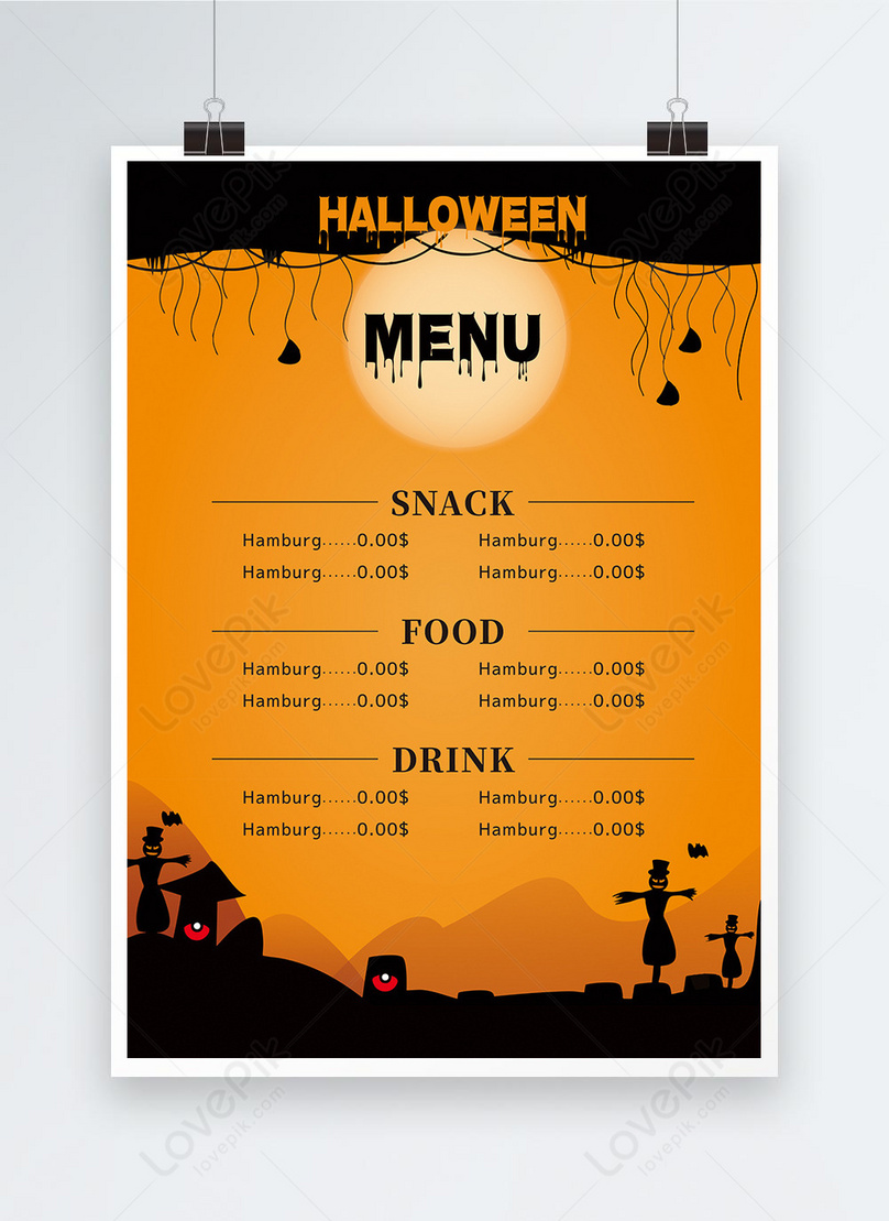 Halloween Catering Yellow Menu Template Image Picture Free Download 464980242 Lovepik Com