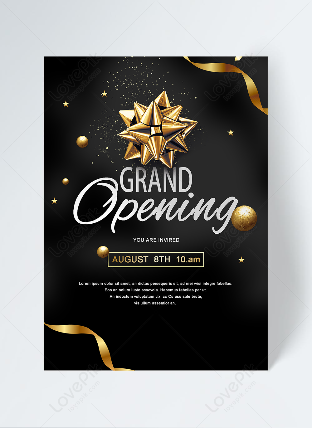 Grand opening poster black gold invitation template template image_picture  free download 465008663_lovepik.com