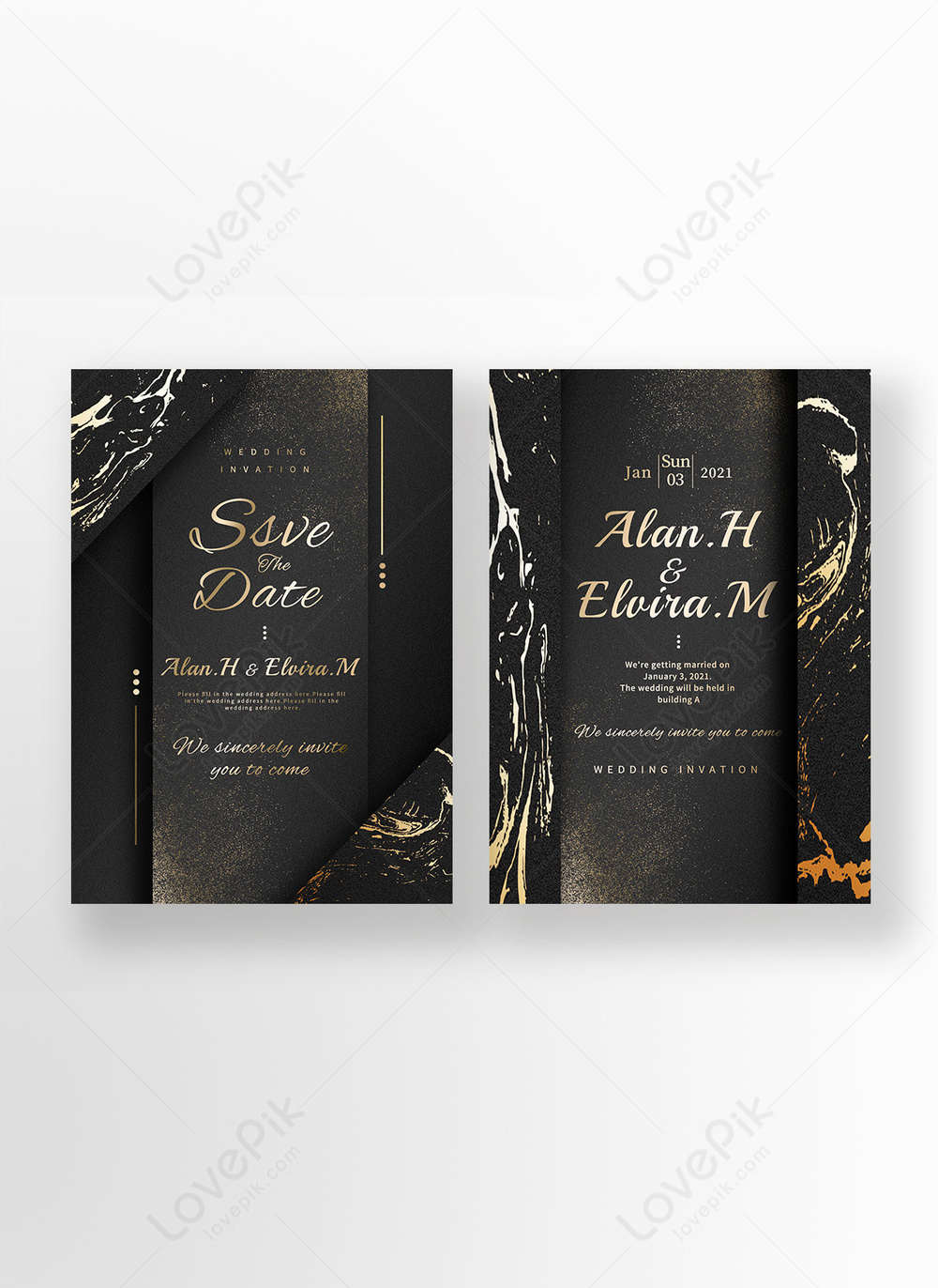 Luxury Black Gold Pink Marble Texture Luxury Bronzing Layered Wedding Invitation Template Image Picture Free Download 465338839 Lovepik Com