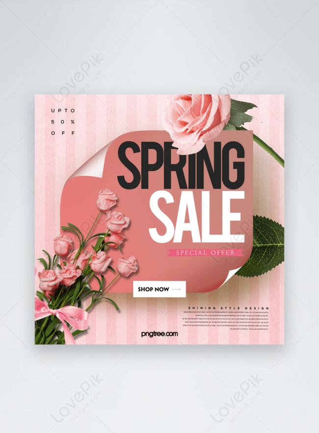 panji media sosial promosi tema bunga musim bunga moden yang sederhana