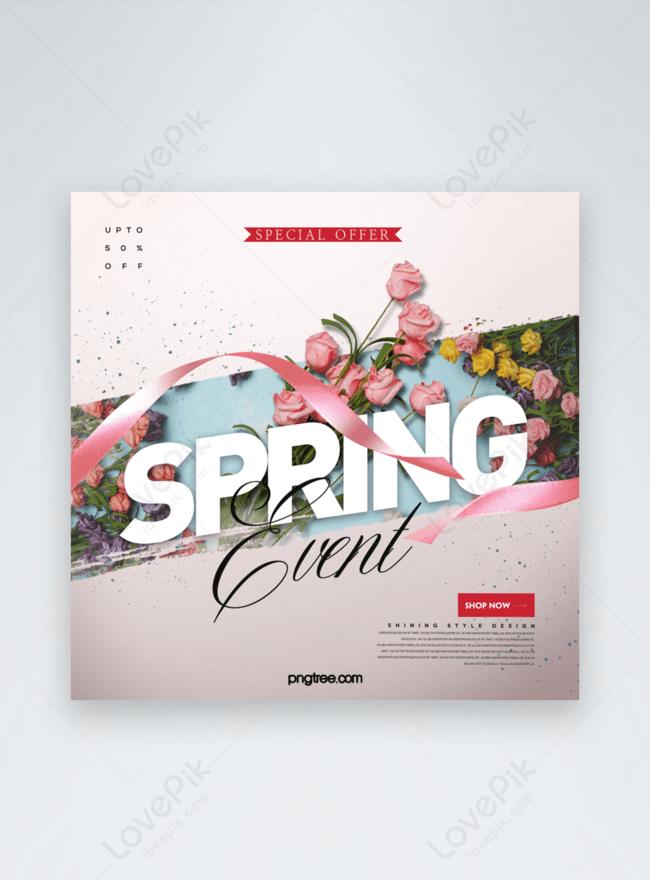 bandeira de mídia social de promoção de flores de primavera de efeito simples de moda