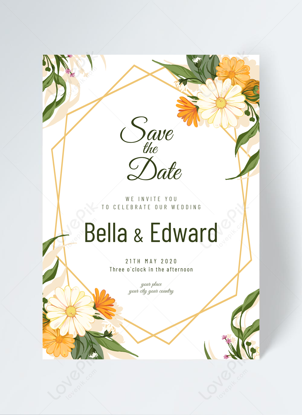 Fresh And Simple Flower Wedding Invitation Template Image Picture Free Download 465425019 Lovepik Com