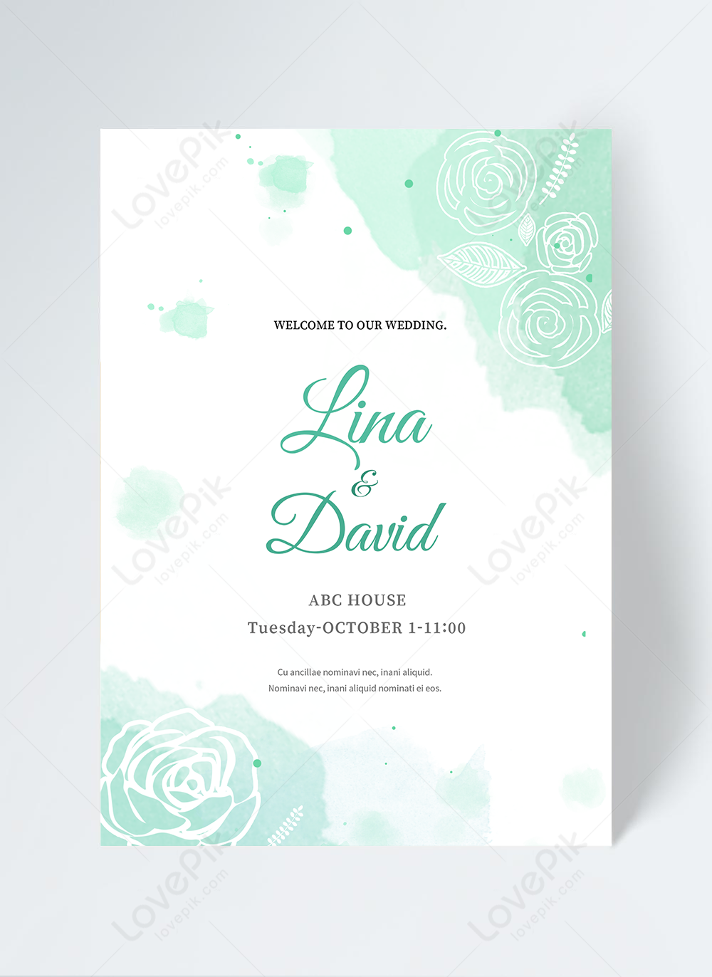 Elegant green watercolor wedding invitation template image_picture free  download 465427232_lovepik.com