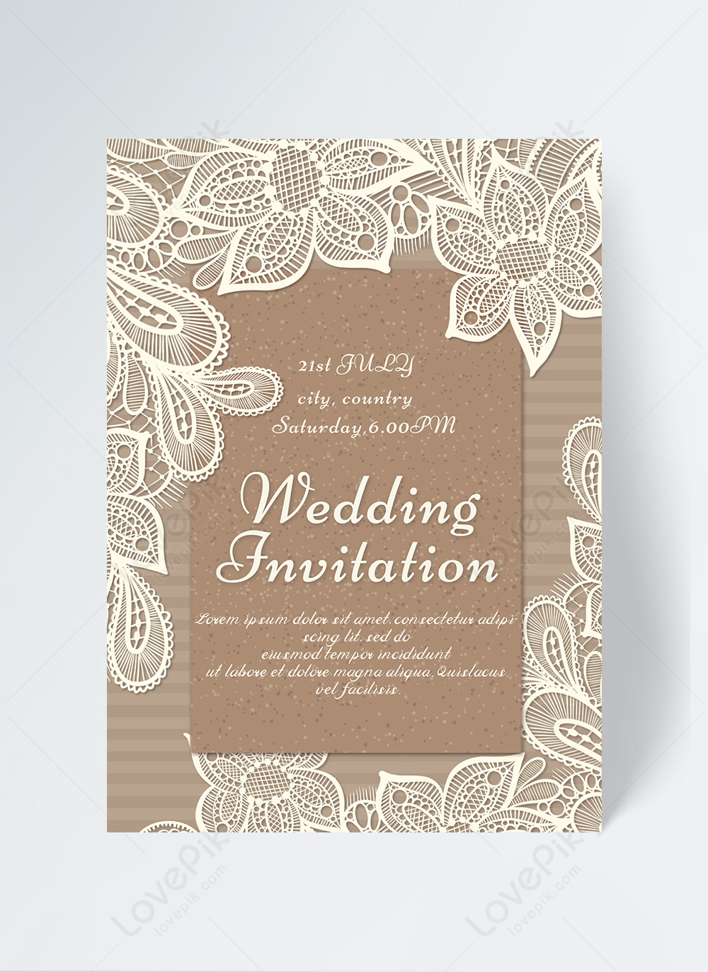 Kraft paper wedding white lace invitation template image_picture