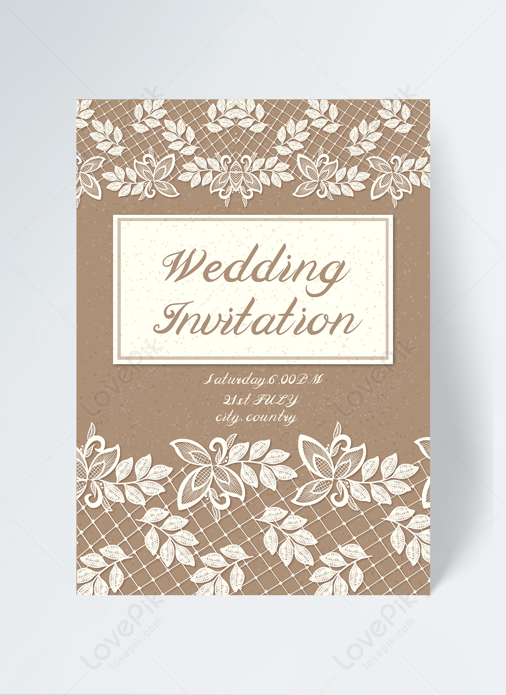 Kraft paper white lace flower wedding invitation template