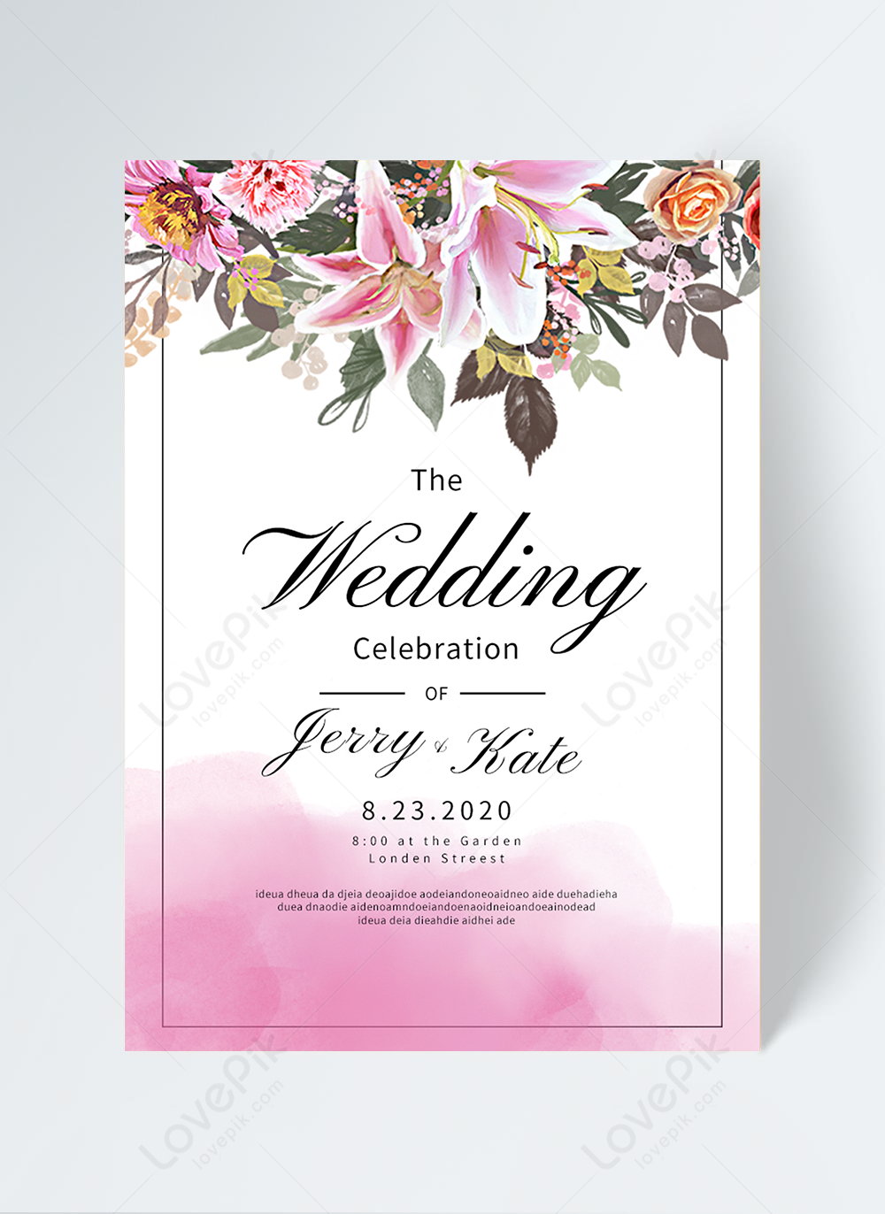 Pink watercolor flowers wedding invitation template image_picture free  download 465445446_lovepik.com