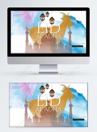 Sepanduk web percutian Eid Adha yang dilukis dengan tangan kartun minimalis yang bergaya Templat